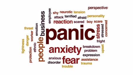 neurotic : Panic animated word cloud, text design animation. Stock Footage