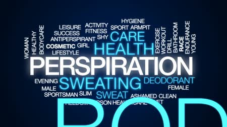 dezodorant : Perspiration animated word cloud, text design animation.