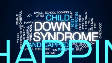 looking down : Down syndrome animated word cloud, text design animation.
