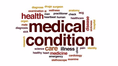 ecg : Medical condition animated word cloud, text design animation. Stock Footage