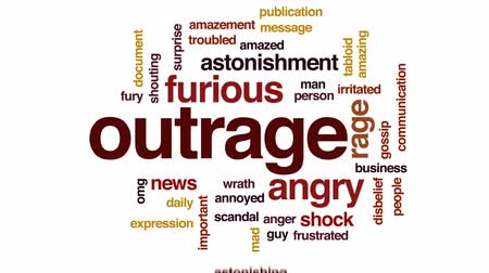 pletyka : Outrage animated word cloud, text design animation.
