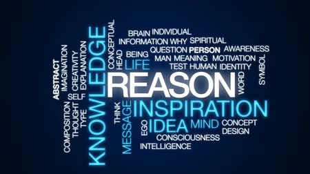 consciousness : Reason animated word cloud, text design animation. Stock Footage