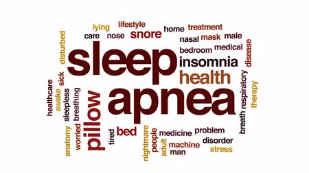 respiração : Sleep apnea animated word cloud, text design animation.