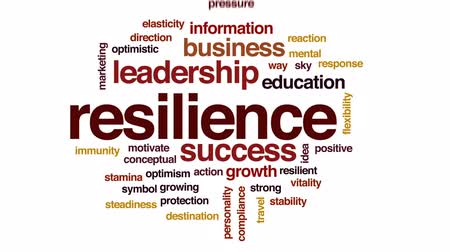 optymizm : Resilience animated word cloud, text design animation.