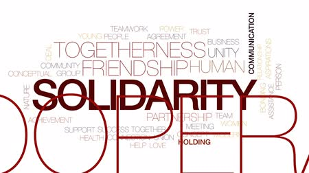 солидарность : Solidarity animated word cloud, text design animation. Kinetic typography.