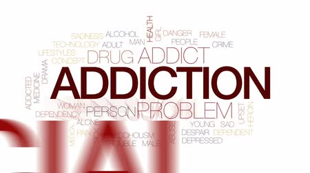 abuso : Addiction animated word cloud, text design animation. Kinetic typography.