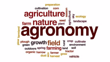 agricultural lands : Agronomy animated word cloud, text design animation. Stock Footage