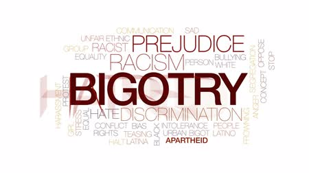 haklar : Bigotry animated word cloud, text design animation. Kinetic typography. Stok Video