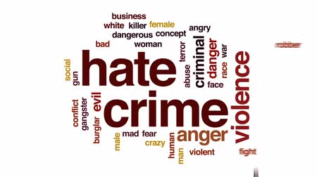 abuso : Hate crime animated word cloud, text design animation. Stock Footage