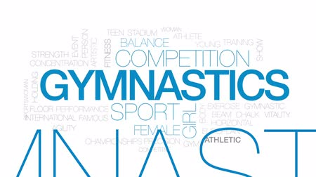 jimnastik : Gymnastics animated word cloud, text design animation. Kinetic typography.