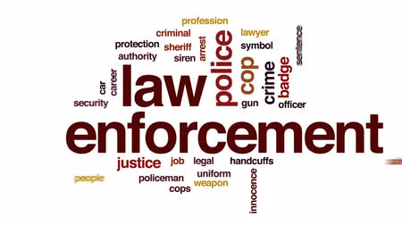 kajdanki : Law enforcement animated word cloud, text design animation.