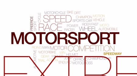 motorsports : Motorsport animated word cloud, text design animation. Kinetic typography. Stock Footage