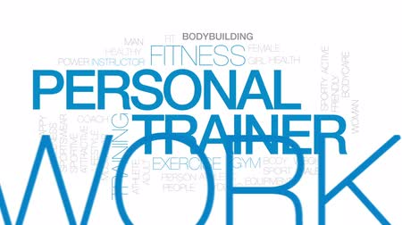 trener : Personal trainer animated word cloud, text design animation. Kinetic typography.