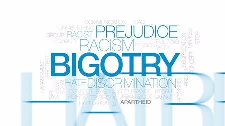 смещение : Bigotry animated word cloud, text design animation. Kinetic typography. Стоковые видеозаписи