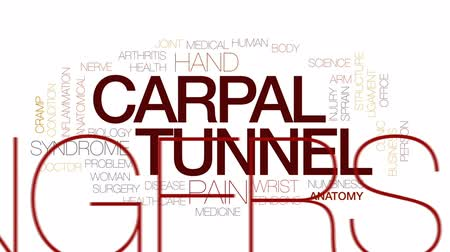 artrite : Carpal tunnel animated word cloud, text design animation. Kinetic typography. Vídeos