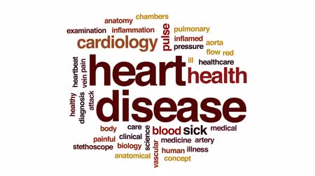 damar : Heart disease animated word cloud, text design animation. Stok Video