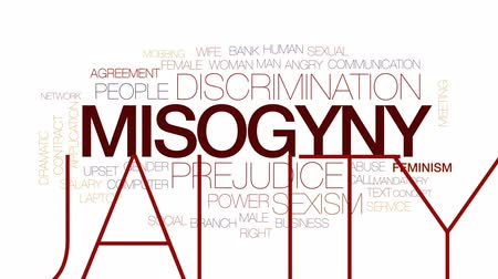 mobbing : Misogyny animated word cloud, text design animation. Kinetic typography.