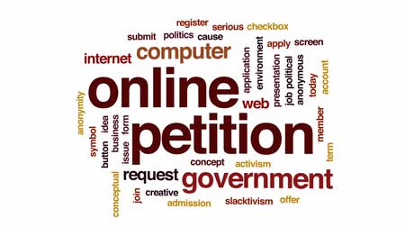 applying : Online petition animated word cloud, text design animation.