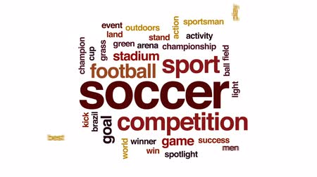 кружка : Soccer animated word cloud, text design animation.