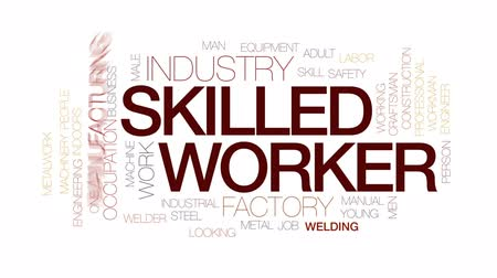 soldagem : Skilled worker animated word cloud, text design animation. Kinetic typography.