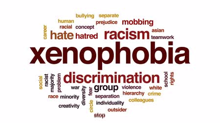 separado : Xenophobia animated word cloud, text design animation.