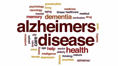 idade média : Alzheimers disease animated word cloud, text design animation.