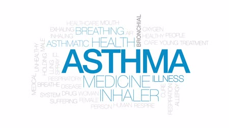 alergia : Asthma animated word cloud, text design animation. Kinetic typography.
