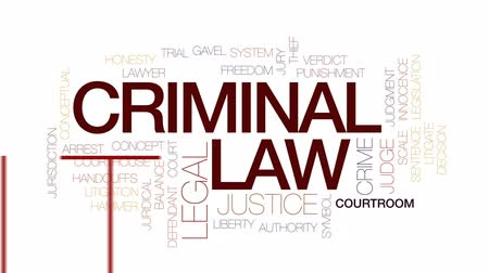 kajdanki : Criminal law animated word cloud, text design animation. Kinetic typography. Wideo