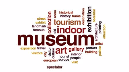 visitantes : Museum animated word cloud, text design animation. Stock Footage