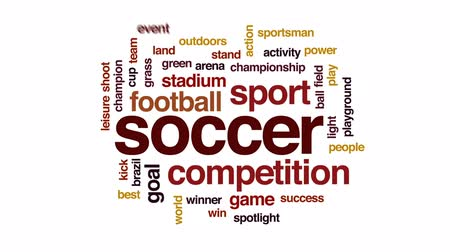 world cup : Soccer animated word cloud, text design animation.