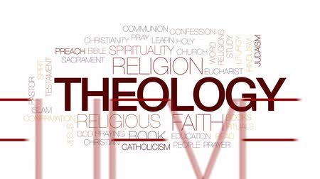eucharystia : Theology animated word cloud, text design animation. Kinetic typography. Wideo