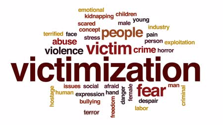 sosyal konular : Victimization animated word cloud, text design animation.