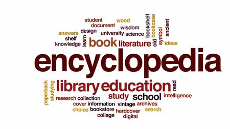 okładka : Encyclopedia animated word cloud, text design animation. Wideo