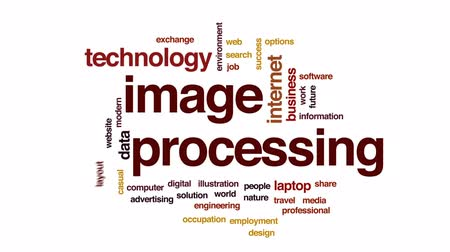 proces : Image processing animated word cloud, text design animation.