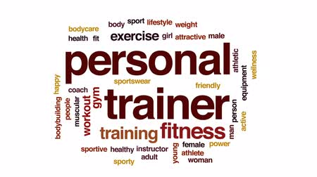 инструктор : Personal trainer animated word cloud, text design animation.