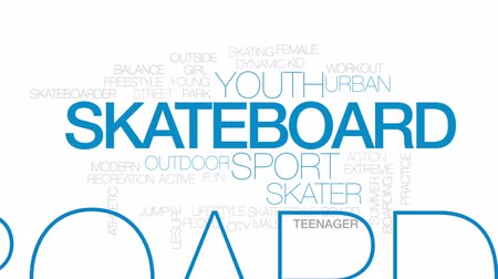 patenci : Skateboard animated word cloud, text design animation. Kinetic typography.