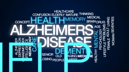 felnőtt : Alzheimers disease animated word cloud, text design animation.