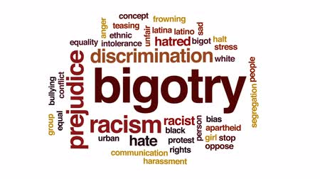 смещение : Bigotry animated word cloud, text design animation.