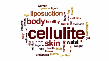 kalça : Cellulite animated word cloud, text design animation. Stok Video