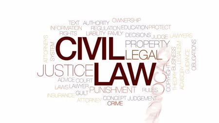 teoria : Civil law animated word cloud, text design animation.
