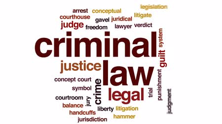 kajdanki : Criminal law animated word cloud, text design animation.