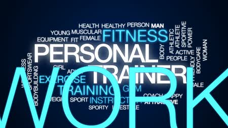 kulturystyka : Personal trainer animated word cloud, text design animation.