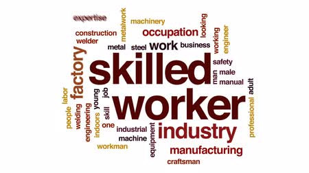 soldagem : Skilled worker animated word cloud, text design animation.