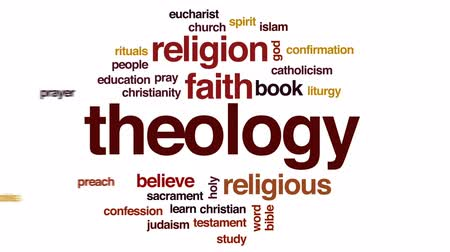 öğrenme : Theology animated word cloud, text design animation.