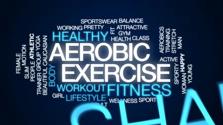aerobic : Aerobic exercise animated word cloud, text design animation. Wideo