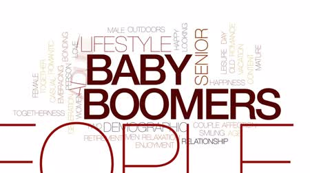 demographic : Baby boomers animated word cloud, text design animation. Kinetic typography.