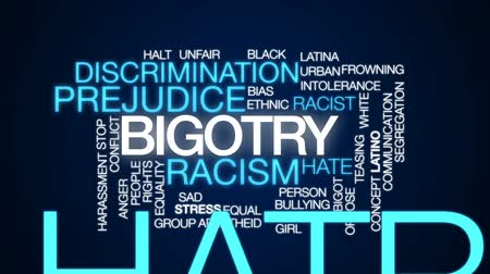 eşitlik : Bigotry animated word cloud, text design animation.