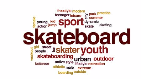 patenci : Skateboard animated word cloud, text design animation. Stok Video