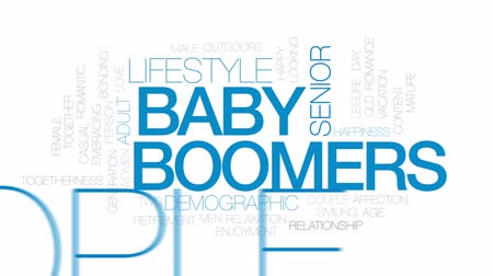 idade média : Baby boomers animated word cloud, text design animation. Kinetic typography.