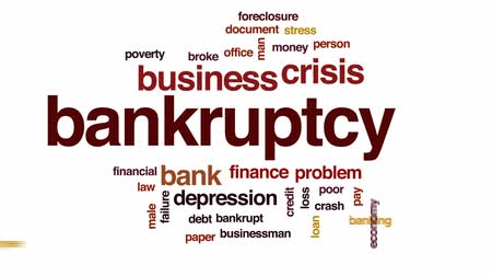 dokumentum : Bankruptcy animated word cloud, text design animation.